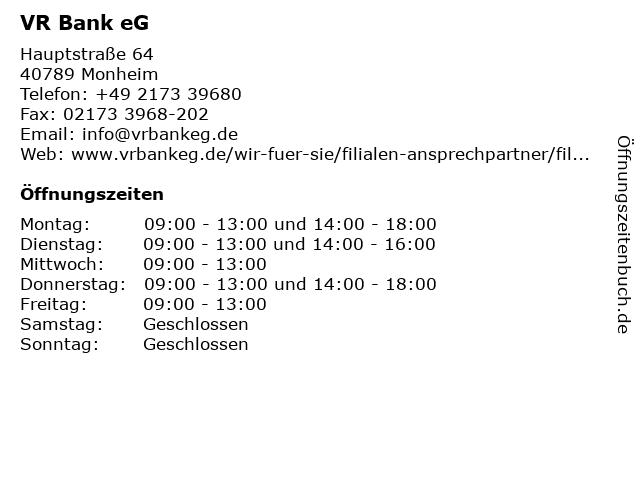 VR Bank eG Filiale Baumberg in Monheim: Adresse und Öffnungszeiten