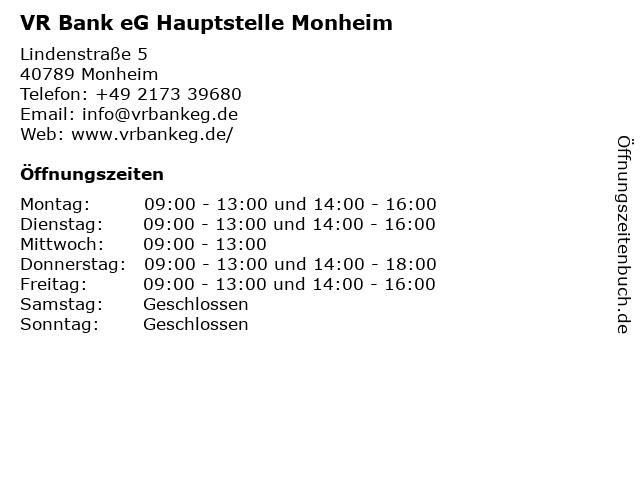 VR Bank eG Hauptstelle Monheim in Monheim: Adresse und Öffnungszeiten