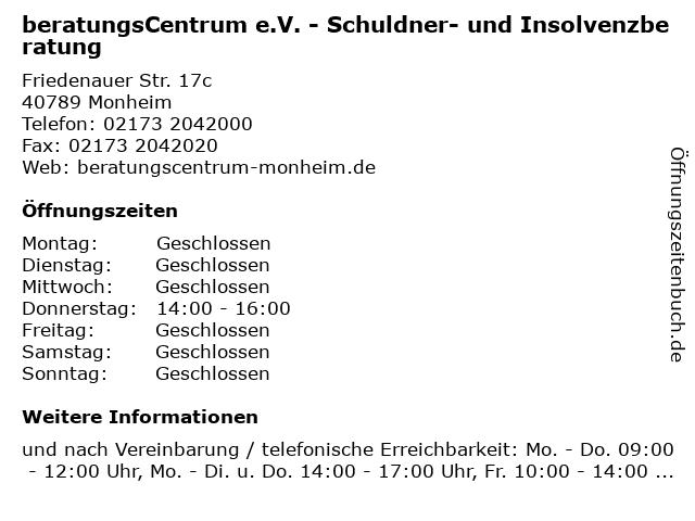 beratungsCentrum e.V. - Schuldner- und Insolvenzberatung in Monheim: Adresse und Öffnungszeiten