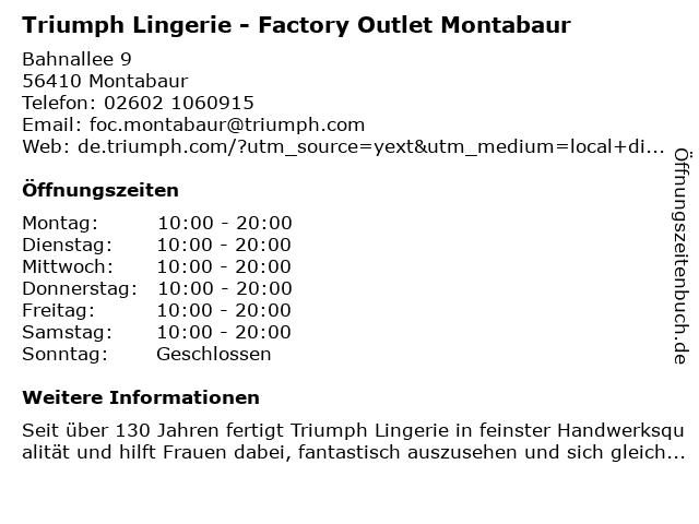 Triumph Factory Outlet Montabaur in Montabaur: Adresse und Öffnungszeiten