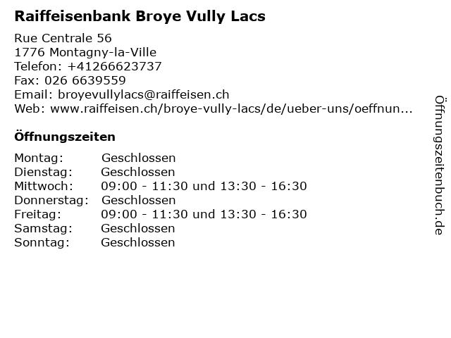 Raiffeisenbank Estavayer-Montagny - Standort Montagny-la-Ville in Montagny-la-Ville: Adresse und Öffnungszeiten