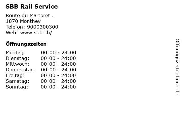 SBB Rail Service in Monthey: Adresse und Öffnungszeiten