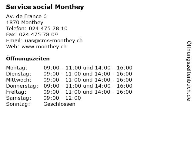 Service social Monthey in Monthey: Adresse und Öffnungszeiten