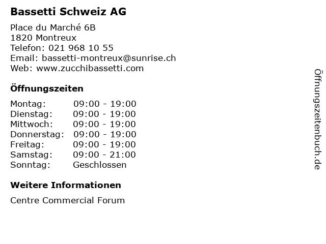 Bassetti Schweiz AG in Montreux: Adresse und Öffnungszeiten