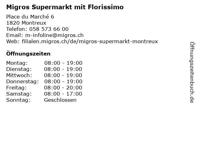 MIGROS Supermarkt in Montreux: Adresse und Öffnungszeiten