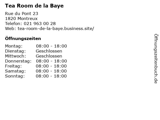 Tea Room de la Baye in Montreux: Adresse und Öffnungszeiten
