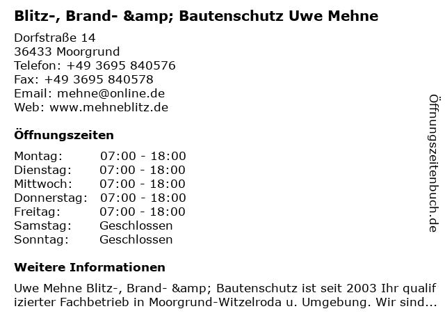 Blitz-, Brand- & Bautenschutz Uwe Mehne in Moorgrund: Adresse und Öffnungszeiten