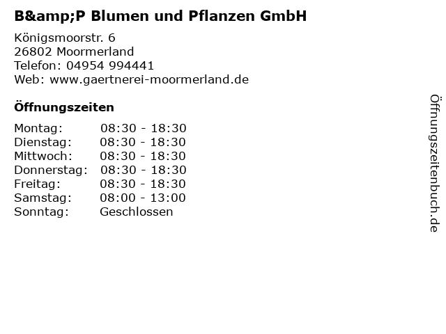 B&P Blumen und Pflanzen GmbH in Moormerland: Adresse und Öffnungszeiten