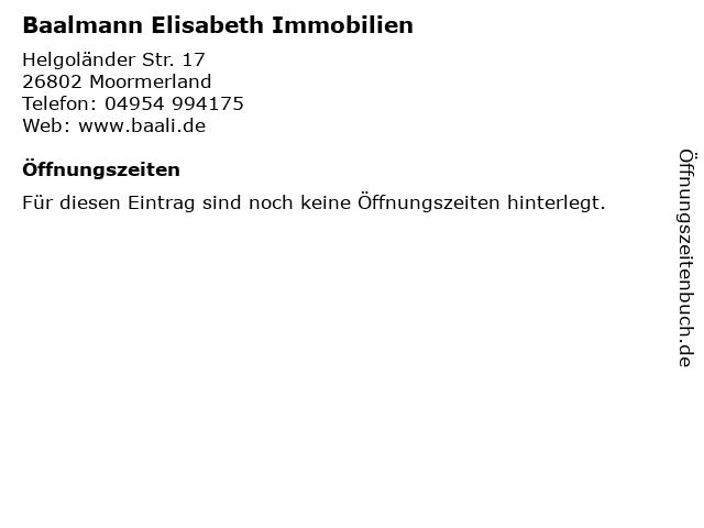 Baalmann Elisabeth Immobilien in Moormerland: Adresse und Öffnungszeiten