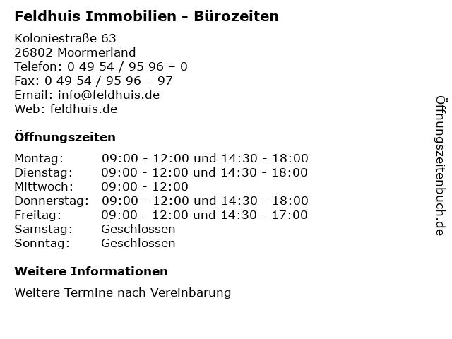 Feldhuis Immobilien - Bürozeiten in Moormerland: Adresse und Öffnungszeiten