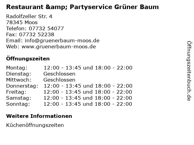 Restaurant & Partyservice Grüner Baum in Moos: Adresse und Öffnungszeiten