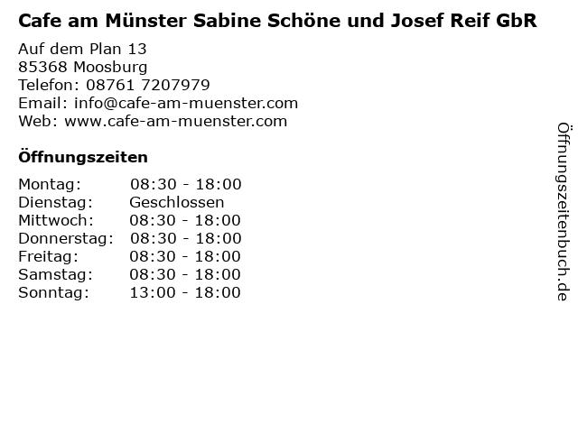 Cafe am Münster Sabine Schöne und Josef Reif GbR in Moosburg: Adresse und Öffnungszeiten