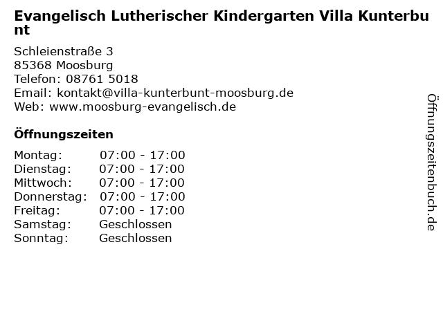 Evangelisch Lutherischer Kindergarten Villa Kunterbunt in Moosburg: Adresse und Öffnungszeiten
