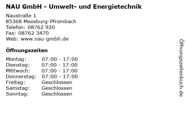 NAU GmbH - Umwelt- und Energietechnik in Moosburg-Pfrombach: Adresse und Öffnungszeiten
