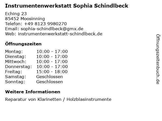 Instrumentenwerkstatt Sophia Schindlbeck in Moosinning: Adresse und Öffnungszeiten