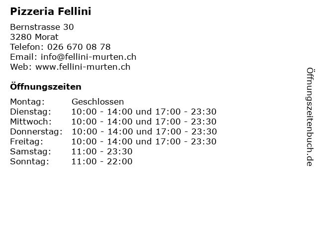 Pizzeria Fellini in Morat: Adresse und Öffnungszeiten