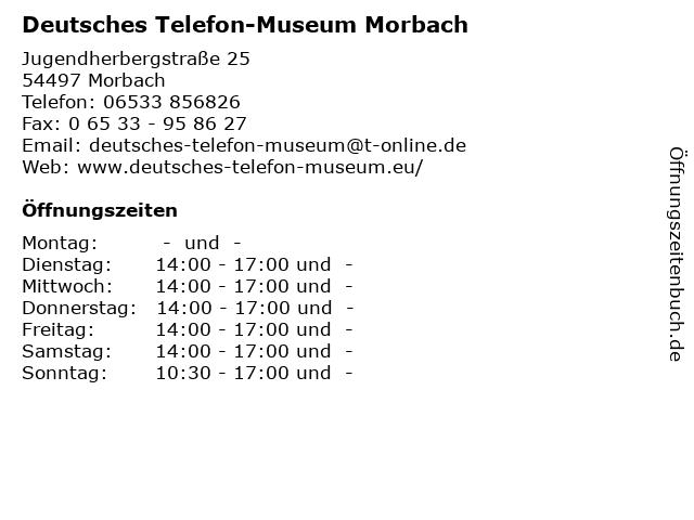 Deutsches Telefon-Museum Morbach in Morbach: Adresse und Öffnungszeiten