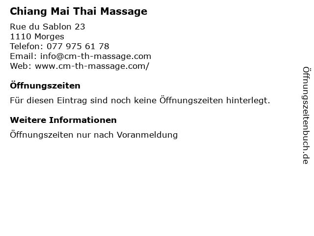 Chiang Mai Thai Massage in Morges: Adresse und Öffnungszeiten