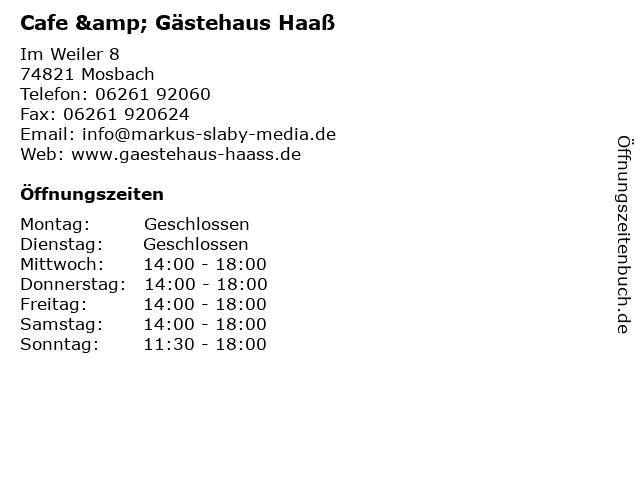 Cafe & Gästehaus Haaß in Mosbach: Adresse und Öffnungszeiten