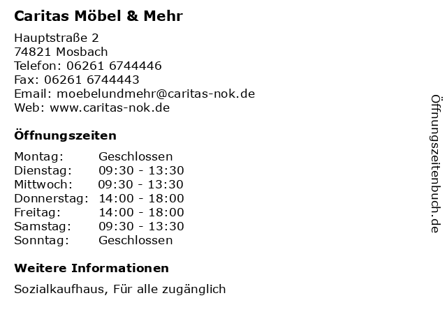 ᐅ Offnungszeiten Caritas Mobel Mehr Hauptstrasse 2 In Mosbach