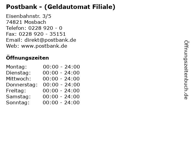 Postbank - (Geldautomat Filiale) in Mosbach: Adresse und Öffnungszeiten