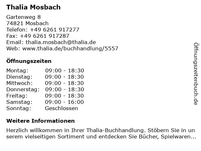 Thalia Mosbach in Mosbach: Adresse und Öffnungszeiten