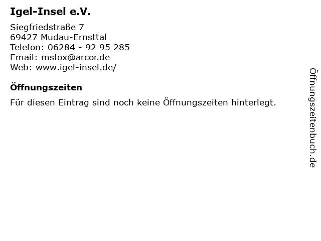Igel-Insel e.V. in Mudau-Ernsttal: Adresse und Öffnungszeiten