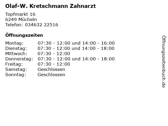 Olaf-W. Kretschmann Zahnarzt in Mücheln: Adresse und Öffnungszeiten