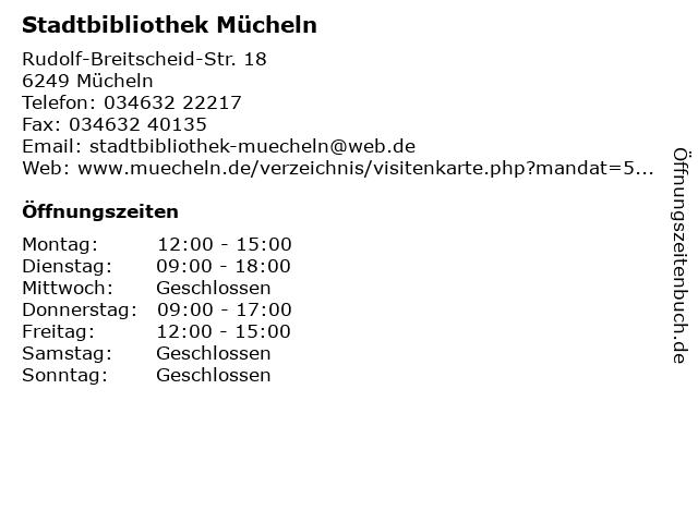 Stadtbibliothek Mücheln in Mücheln: Adresse und Öffnungszeiten