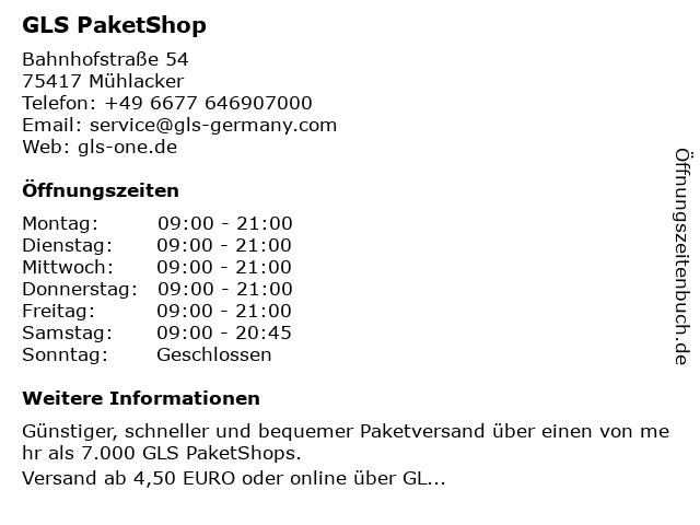GLS PaketShop in Mühlacker: Adresse und Öffnungszeiten