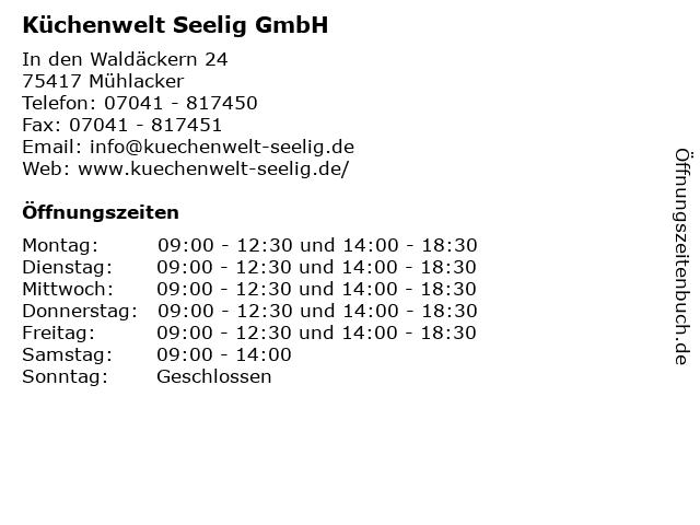 ᐅ Offnungszeiten Kuchenwelt Seelig Gmbh In Den Waldackern 24 In