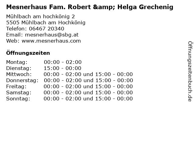 Mesnerhaus Fam. Robert & Helga Grechenig in Mühlbach am Hochkönig: Adresse und Öffnungszeiten