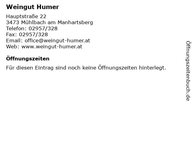 Weingut Humer in Mühlbach am Manhartsberg: Adresse und Öffnungszeiten