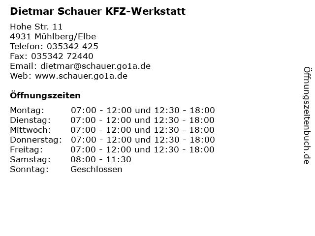 Dietmar Schauer KFZ-Werkstatt in Mühlberg/Elbe: Adresse und Öffnungszeiten