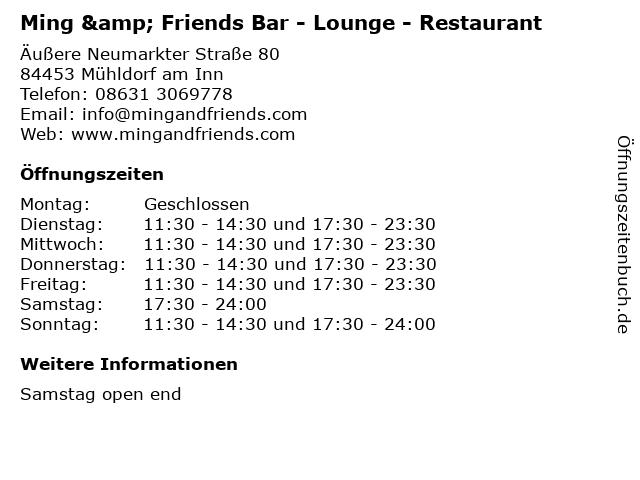 Ming & Friends Bar - Lounge - Restaurant in Mühldorf am Inn: Adresse und Öffnungszeiten