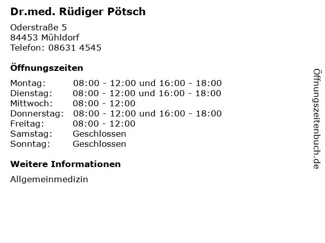 Dr.med. Rüdiger Pötsch in Mühldorf: Adresse und Öffnungszeiten