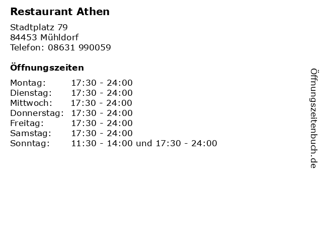 Restaurant Athen in Mühldorf: Adresse und Öffnungszeiten