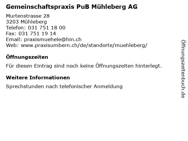 Gemeinschaftspraxis PuB Mühleberg AG in Mühleberg: Adresse und Öffnungszeiten
