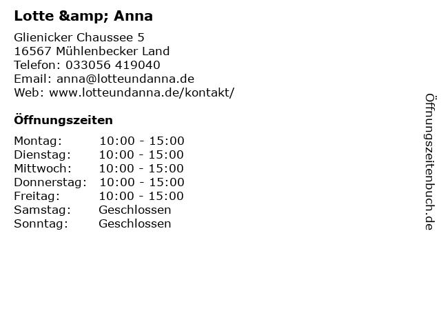 Lotte & Anna in Mühlenbecker Land: Adresse und Öffnungszeiten