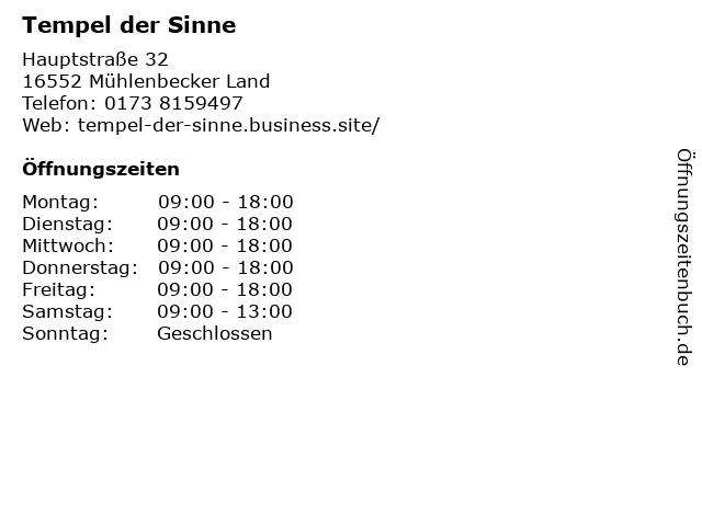 Tempel der Sinne in Mühlenbecker Land: Adresse und Öffnungszeiten