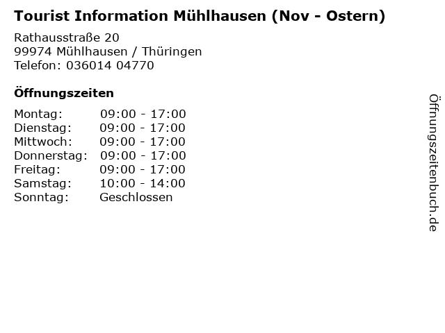 Tourist Information Mühlhausen (Nov - Ostern) in Mühlhausen / Thüringen: Adresse und Öffnungszeiten