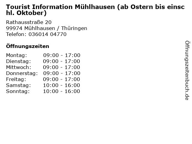 Tourist Information Mühlhausen (ab Ostern bis einschl. Oktober) in Mühlhausen / Thüringen: Adresse und Öffnungszeiten