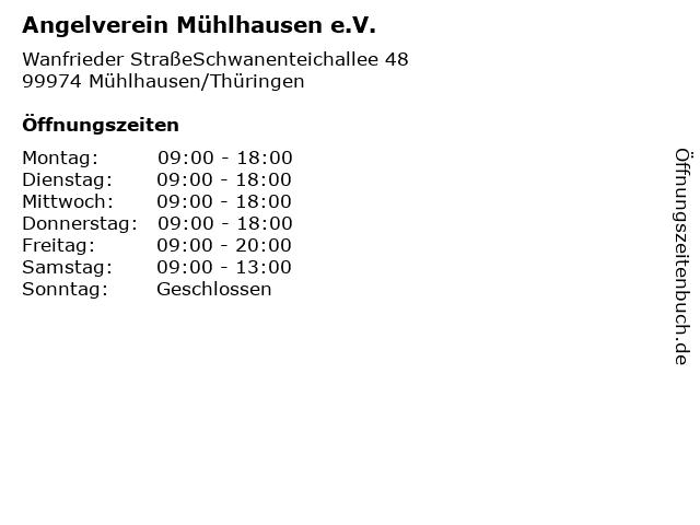Angelverein Mühlhausen e.V. in Mühlhausen/Thüringen: Adresse und Öffnungszeiten