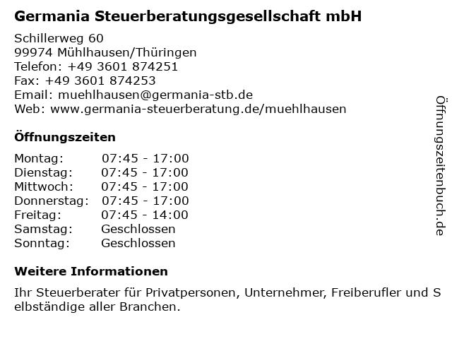 Germania Steuerberatungsgesellschaft mbH in Mühlhausen/Thüringen: Adresse und Öffnungszeiten