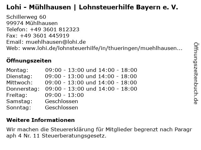Lohi - Mühlhausen | Lohnsteuerhilfe Bayern e. V. in Mühlhausen/Thüringen: Adresse und Öffnungszeiten