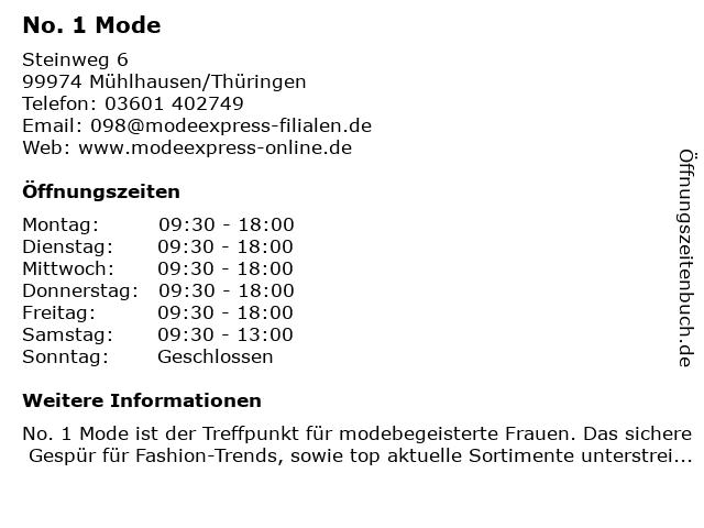 No. 1 Mode in Mühlhausen/Thüringen: Adresse und Öffnungszeiten