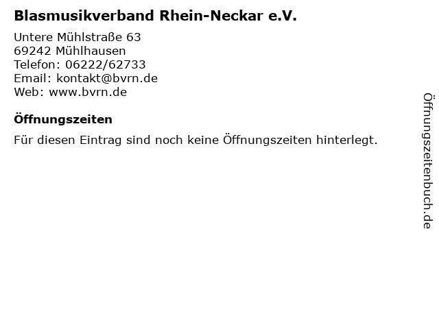 Blasmusikverband Rhein-Neckar e.V. in Mühlhausen: Adresse und Öffnungszeiten