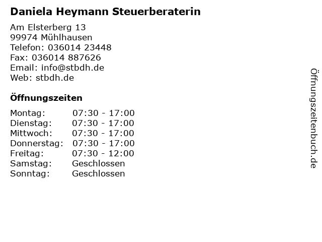 Daniela Heymann Steuerberaterin in Mühlhausen: Adresse und Öffnungszeiten