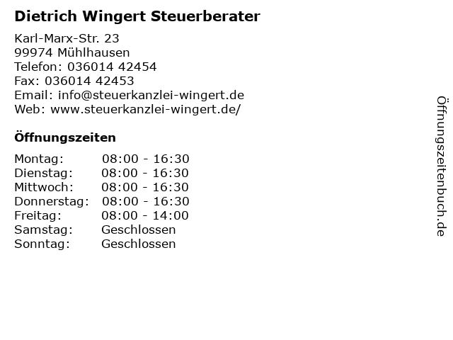 Dietrich Wingert Steuerberater in Mühlhausen: Adresse und Öffnungszeiten