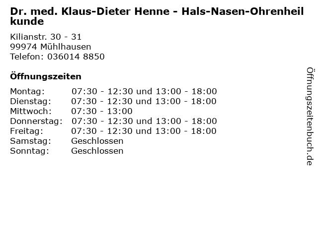 Dr. med. Klaus-Dieter Henne - Hals-Nasen-Ohrenheilkunde in Mühlhausen: Adresse und Öffnungszeiten